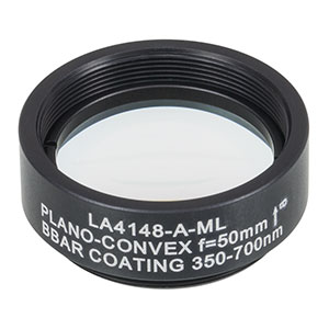 LA4148-A-ML - Ø1in UVFS Plano-Convex Lens, SM1-Threaded Mount, f = 50.0 mm, ARC: 350 - 700 nm