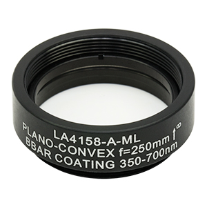 LA4158-A-ML - Ø1in UVFS Plano-Convex Lens, SM1-Threaded Mount, f = 250.0 mm, ARC: 350 - 700 nm