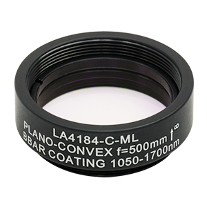 LA4184-C-ML - Ø1in UVFS Plano-Convex Lens, SM1-Threaded Mount, f = 500.0 mm, ARC: 1050 - 1700 nm