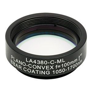 LA4380-C-ML - Ø1in UVFS Plano-Convex Lens, SM1-Threaded Mount, f = 100.0 mm, ARC: 1050 - 1700 nm