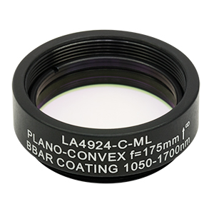 LA4924-C-ML - Ø1in UVFS Plano-Convex Lens, SM1-Threaded Mount, f = 175.0 mm, ARC: 1050 - 1700 nm