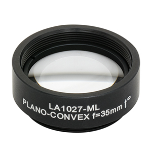 LA1027-ML - Ø1in N-BK7 Plano-Convex Lens, SM1-Threaded Mount, f = 35 mm, Uncoated