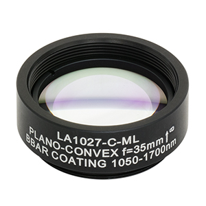 LA1027-C-ML - Ø1in N-BK7 Plano-Convex Lens, SM1-Threaded Mount, f = 35.0 mm, ARC: 1050-1700 nm