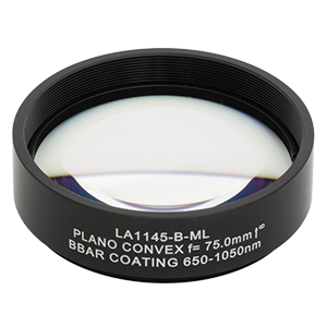 LA1145-B-ML - Ø2in N-BK7 Plano-Convex Lens, SM2-Threaded Mount, f = 75.0 mm, ARC: 650-1050 nm