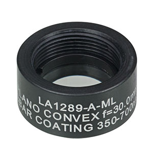 LA1289-A-ML - Ø1/2in N-BK7 Plano-Convex Lens, SM05-Threaded Mount, f = 30.0 mm, ARC: 350-700 nm