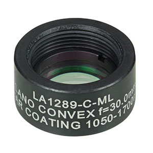 LA1289-C-ML - Ø1/2in N-BK7 Plano-Convex Lens, SM05-Threaded Mount, f = 30.0 mm, ARC: 1050-1700 nm