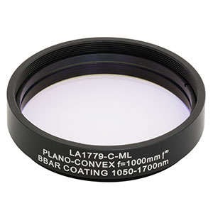 LA1779-C-ML - Ø2in N-BK7 Plano-Convex Lens, SM2-Threaded Mount, f = 1000 mm, ARC: 1050-1700 nm
