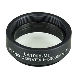 LA1908-ML - Ø1in N-BK7 Plano-Convex Lens, SM1-Threaded Mount, f = 500 mm, Uncoated