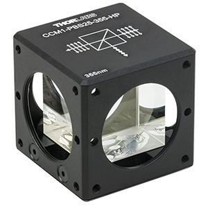 CCM1-PBS25-355-HP - 30 mm Cage-Cube-Mounted, High-Power, Polarizing Beamsplitter Cube, 355 nm, 8-32 Tap
