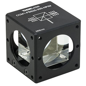 CCM1-PBS25-355-HP/M - 30 mm Cage-Cube-Mounted, High-Power, Polarizing Beamsplitter Cube, 355 nm, M4 Tap