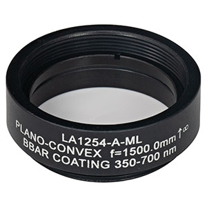 LA1254-A-ML - Ø1in N-BK7 Plano-Convex Lens, SM1-Threaded Mount, f = 1500.0 mm, ARC: 350-700 nm