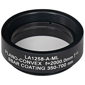 LA1258-A-ML - Ø1in N-BK7 Plano-Convex Lens, SM1-Threaded Mount, f = 2000 mm, ARC: 350-700 nm