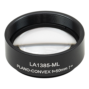 LA1385-ML - Ø1.5in N-BK7 Plano-Convex Lens, SM1.5-Threaded Mount, f = 50 mm, Uncoated
