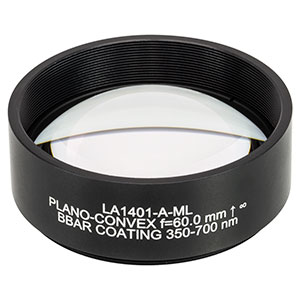 LA1401-A-ML - Ø2in N-BK7 Plano-Convex Lens, SM2-Threaded Mount, f = 60 mm, ARC: 350-700 nm