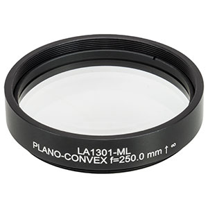 LA1301-ML - Ø2in N-BK7 Plano-Convex Lens, SM2-Threaded Mount, f = 250 mm, Uncoated