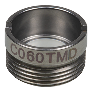 C060TMD - f= 9.6 mm, NA = 0.3, WD = 7.1 mm, Mounted Aspheric Lens, Uncoated