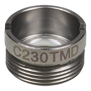 C230TMD - f= 4.5 mm, NA = 0.6, WD = 2.4 mm, Mounted Aspheric Lens, Uncoated