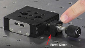 A barrel clamp is used to couple a manual or motorized adjuster or actuator to Thorlabs' linear translation stages.