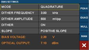 Intensity Modulator Bias Control Settings