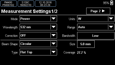Measurement Settings