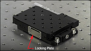 Cap screws secure two of four mounting slots of a linear translation stage to a table.